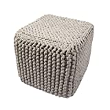 Jaipur Solid Pattern Gray Wool Pouf, 16-Inch x 18-Inch x 18-Inch, Blue Indigo Nata