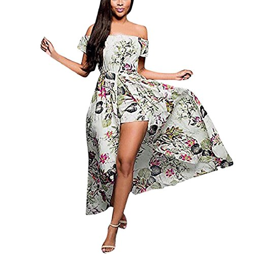 cbb54d4438 ShenPr Women's Off Shoulder Floral Print Front Split Party Beach Flowy Maxi  Romper Dress well-