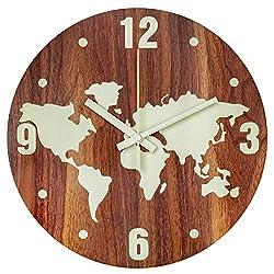 BEW Luminous Wall Clock, Glow in Dark Night Light Map Clock
