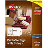 "Avery Printable Tags for Inkjet Printers Only, Tags With Strings, 2"" x 3.5"", 96 Tags (22802)"