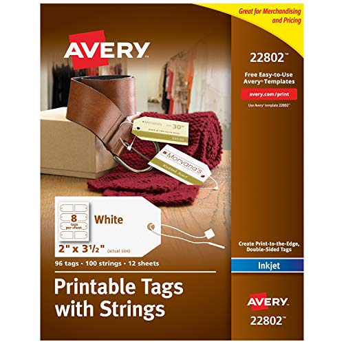 (Avery Printable Tags for Inkjet Printers Only, Tags With Strings, 2