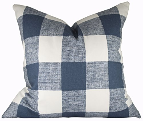 Checks Toss Pillow (Buffalo Check Pillow Cover - Premier Prints Anderson Premier Navy Pillow Cover - Made to Order in Over 20 Sizes with Invisible Zipper)