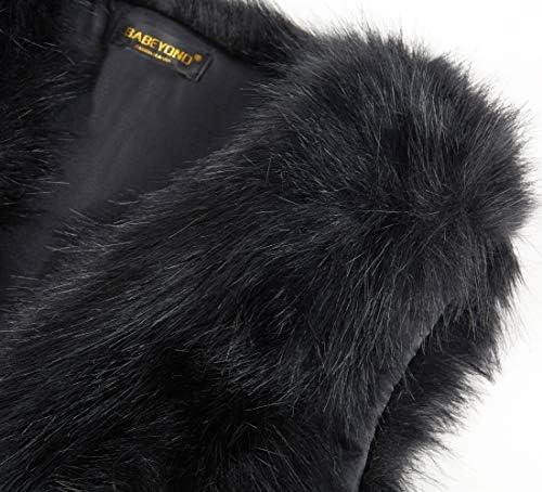 BABEYOND Women Faux Fur Bolero Shrug Bridal Stole Wrap Faux Fur Jacket Waistcoat