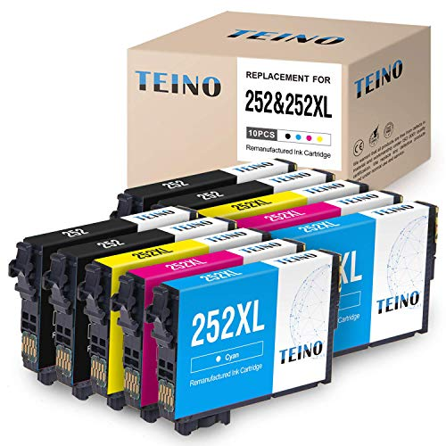 - TEINO Remanufactured Ink Cartridge Replacement for Epson 252 252 XL T252 T252XL120 for Workforce WF-7620 WF-7610 WF-7710 WF-7720 WF-3620 WF-3640 WF-3630 (4 Black 2 Cyan 2 Magenta 2 Yellow, 10-Pack)