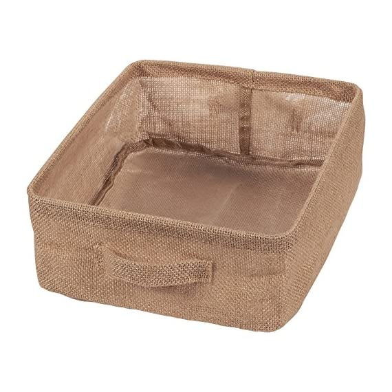 Juvale Foldable Storage Bins, Fabric Linen Baskets with Handles (2-Pack) - LINEN FABRIC STORAGE BASKETS: Make cleaning more practical with these foldable storage linen bins with handles for easy carrying and transport that is perfect for organizing everyday items VERSATILE STORAGE SOLUTION: These collapsible storage bins can maximize storage space on shelves, living room tables, closets, drawers and under beds; containers are also perfect for storing household items such as toys, clothes, craft supplies, magazines, linens and school supplies HIGH QUALITY: Made from hypallergenic linen, giving it a natural and rustic look. PVC lining creates a waterproof layer that makes the interior of these bins easy to clean in case of accidental spills - living-room-decor, living-room, baskets-storage - 51AuOXb6vSL. SS570  -