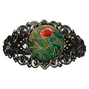 Chicforest Bronze Retro Style corn poppy Memorial Day Flower Cuff Bracelet