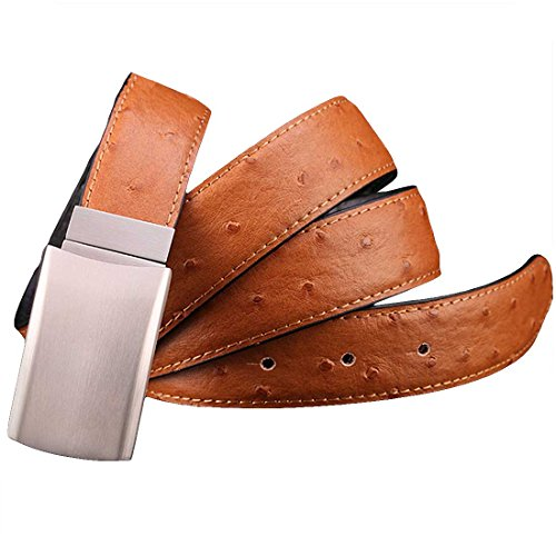 Print Cool Belt Buckle - Nidicus Mens 32mm Casual Ostrich Skin Print Jeans Reversible Leather Belt Camel 120cm