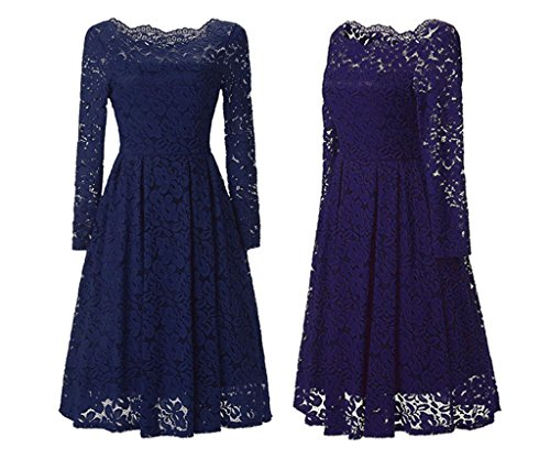 Lace Blue Dress Cocktail Shoulder Dreagel Navy with Off Dress Sleeve Short Party Vintage 7dfpqA