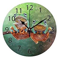 XiangHeFu Wall Clock,Round 10 Inch Diameter Silent Nature Cute Animal Frog Decorative for Home Office School