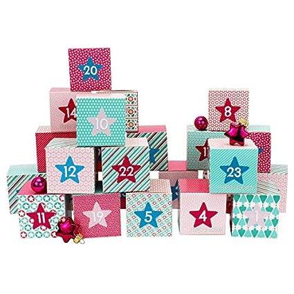Papierdrachen Juego de cajas para calendario de Adviento DIY – 24 cajas de colores para exponer