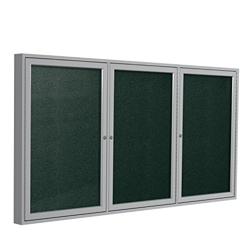 Ghent 48''x72''  3-Door Outdoor Enclosed Vinyl Bulletin Board, Shatter Resistant, with Lock, Satin Aluminum Frame - Ebony (PA34872VX-183), Made in the USA by Ghent