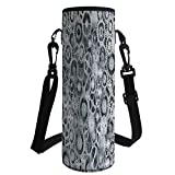 Water Bottle Sleeve Neoprene Bottle Cover,Clock,Realistic Look Cogwheels Mechanism Gear Engineering and Technologic Themed Pattern Decorative,Grey Silver,Fit for Most of Water Bottles