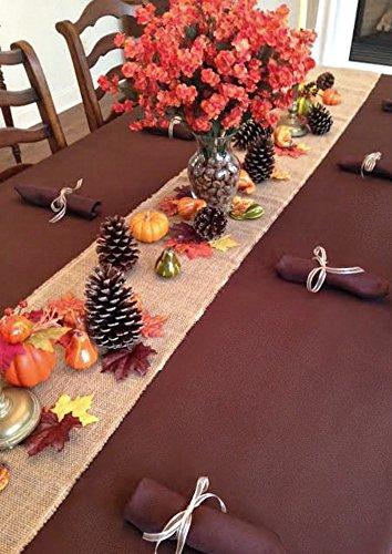 Thanksgiving Tablecloth, Napkins, Burlap Runner, Cornucopia Basket and Fall Decor Set -