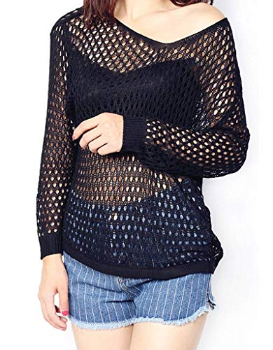 Large Pull Sweater V See through over Hollow Noir COMVIP Manches Longues Col out SnqZPZw8d