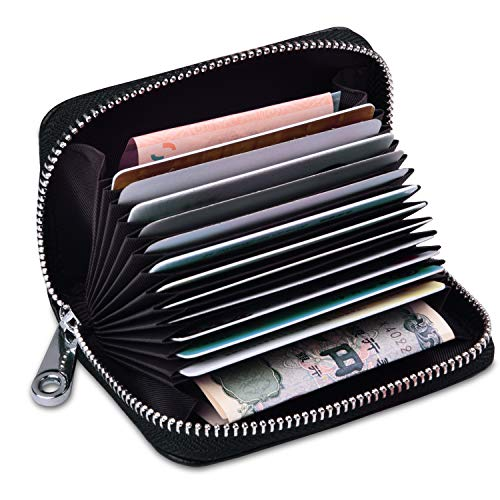 Credit Card Holder for Women Men, RBEIK RFID Blocking Accordion Style ID Business Name Card Wallet Case, Card Slots Zipper Travel Wallet Purse Pocket for Ladies Girls Boys (A2#Black)
