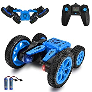 Remote Control Car 4WD RC Stunt Cars Toys for Kids Double Sided Rotating 360°Flips Off Road RC Truck Racing Car Toy Xmas Gifts for 3 4 5 6 7 8 9 Year Old Boys 2 Batteries