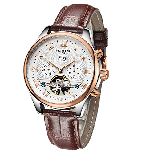 - Derieter Automatic Mechanical Skeleton Imitate Tourbillon Watch Men Rose Gold Mechanical Wrist Watches