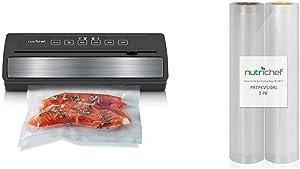 "NutriChef Upgraded Vacuum Sealer | Automatic Vacuum Air Sealing System For Food Preservation w/ Starter Kit & PRTPKVS10RL Two 8"" X10' 4 mil Commercial Grade Vacuum Sealer Food Storage Rolls"