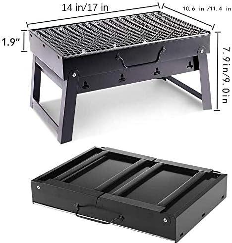 JASSXIN Portable BBQ Grill Portable BBQ Barbecue Au Charbon Pliable pour BBQ Camping Cuisine De Plein Air Randonnée Party Pique-Nique Noir,L