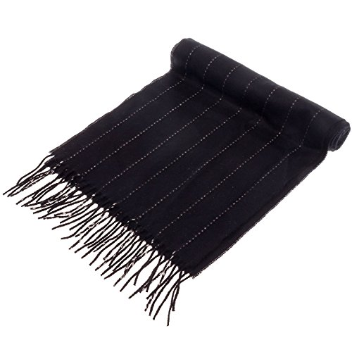 SilverHooks Soft & Warm Cashmere Scarf w/ Gift Box, Black & White Pinstripe