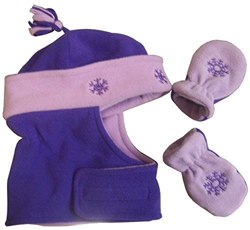 (N'Ice Caps Girls Wrap Around Micro Fleece Embroidered Set (6-15 months, Lt Purple/Dark Purple)