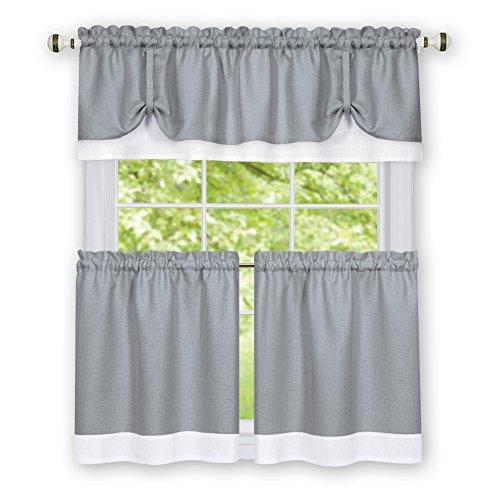 Collections Etc Darcy Two-tone Rod Pocket Café Curtain Tiers - 2 Piece Set, Grey, 58