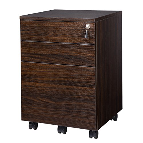 TOPSKY 3 Drawers Wood Mobile File Cabinet Fully Assembled Except Casters (Walnut Letter Size)