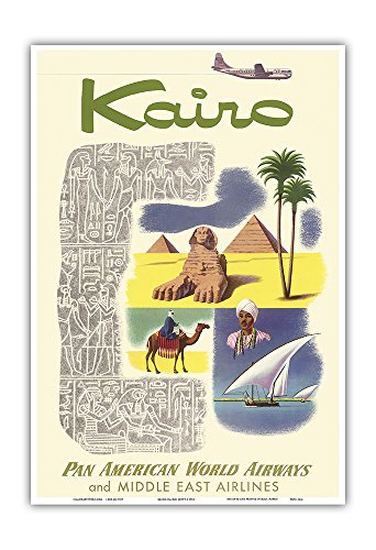 Kairo (Cairo) Egypt - via Beirut with Clipper Planes - Cheops Pyramid - Pan American World Airways - and Middle East Airlines - Vintage Airline Travel Poster c.1953 - Master Art Print - 13in x 19in