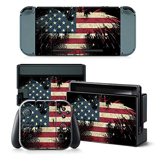 (Skin Sticker Decal Cover for Nintendo Switch American Flag Design )