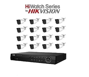HiWatch by Hikvision 4MP IP Sistema de cámara de seguridad con 16CH PoE HD NVR y