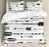 Black and White King Size Bedding Sets Arrow Decor Duvet Cover Set by Ambesonne, Cute Indie Ethnic Western Indian Arrows Traditional Aztec Tribal Culture Print, 3 Piece Bedding Set with Pillow Shams, King Size, Black White