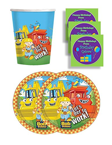Bob The Builder Birthday Party Supplies Set Large Plates & Cups Kit for 16 Plus Stickers