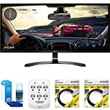 LG 34' WFHD (2560x1080) 21:9 UltraWide IPS, Sleek Cut Freesync Monitor (34UM59-P) with Universal Screen Cleaner for LED TVs Large Bottle, 6 Outlet Wall Tap w/ 2 USB Ports & 2x 6 ft HDMI Cable