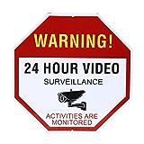 NONMON Video Surveillance Sign - Warning 24 Hour Security Alert 12'' X 12'' Octagon Aluminum Sign