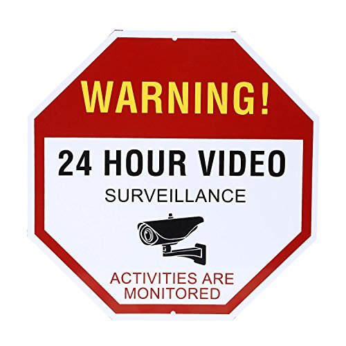 NONMON Video Surveillance Sign - Warning 24 Hour Security Alert 12'' X 12'' Octagon Aluminum Sign by NONMON (Image #5)