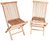 Zenvida Teak Wood Folding Patio Dining Chair Set of 2 (2 Chairs)
