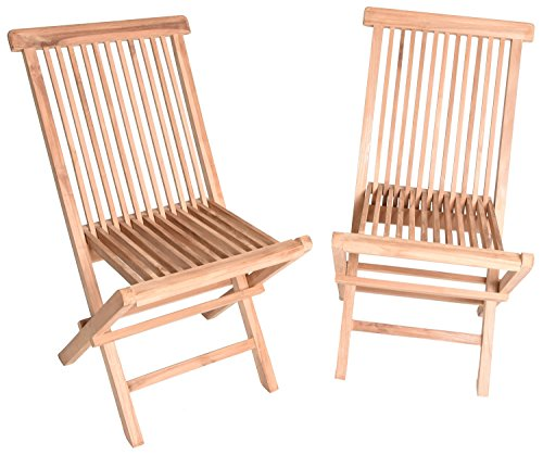 Zenvida Teak Wood Folding Patio Dining Chair Set of 2 (2 Chairs) by Zenvida