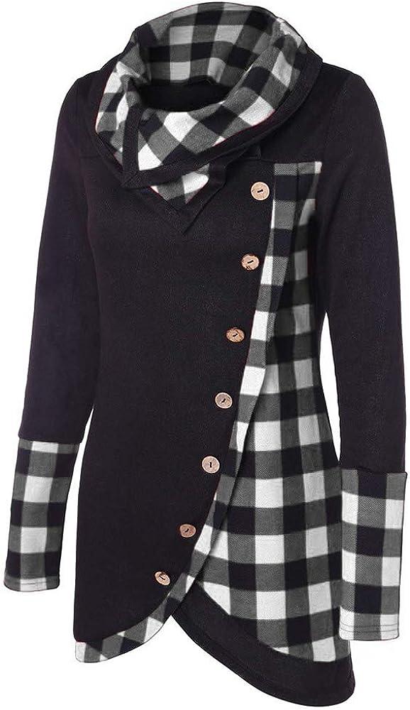 Closhion Womens Long Sleeve Cowl Neck Hoodie Sweatshirt Plaid Button Tunic Tops Blouse T Shirt
