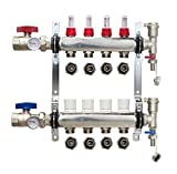 4-Branch PEX Manifold Radiant Floor Heating Set Stainless Steel with 1/2'' Connectors by PlumbingPexSouth