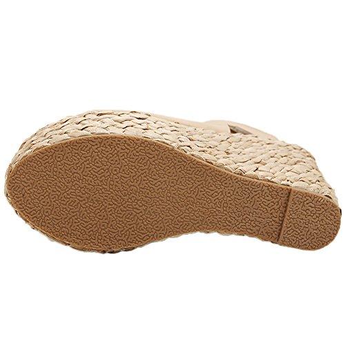 HooH Mujer Sandalias Weave Tacón Plataforma Slingback Zapatos de cuña Beige