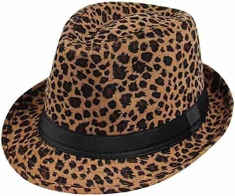 73baa6879d6ea Summerwhisper Women s Men s Wool Leopard Fedora Trilby Hat Cap Unisex