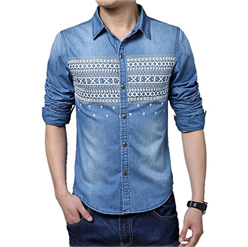 Shilian Clothing New Mens Denim Shirts Casual Long Sleeve Youngster Shirts Formal Turn-Down Collar Fashion Dress Dark BlueXX-Large (Coat Youngsters Rack)