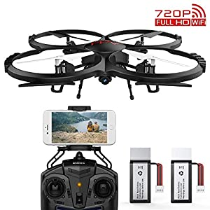 DBPOWER FPV RC Drone with 720p HD Wi-Fi Camera Offering Real-time Video, Training Quadcopter for Beginners with Altitude Hold, One-Key Take-Off/Landing, Headless Mode & Extra Battery