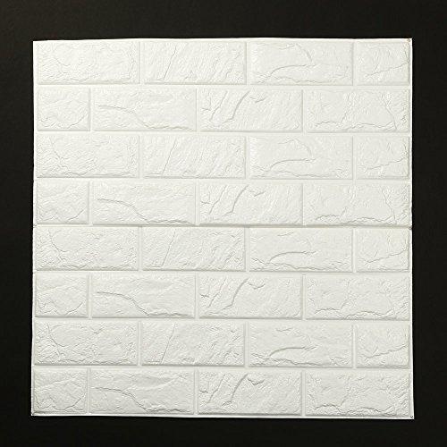 PE Foam 3D Wallpaper DIY Home Wall Stickers Wall Decor Embossed Brick Stone 24× 24 Inch (White, 60× 60 cm) -