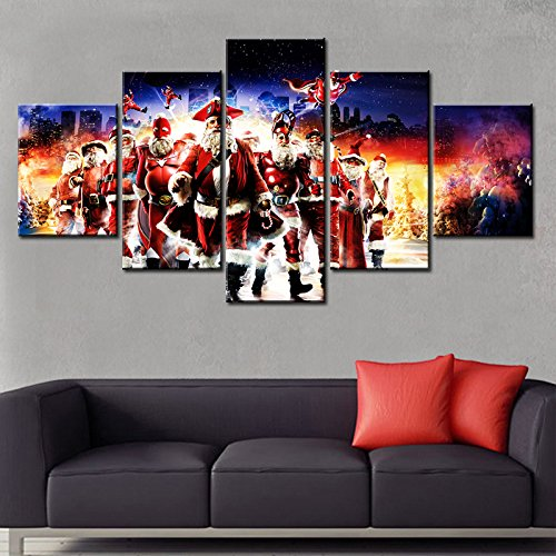 [Medium] Premium Quality Canvas Printed Wall Art Poster 5 Pieces / 5 Pannel Wall Decor Christmas Santa Painting, Home Decor Pictures - With Wooden Frame (Art Santa Christmas)