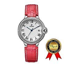 BRIGADA Swiss Watches for Women, Fashion Quartz Waterproof Ladies Watches for Girls Women (red)