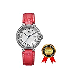 BRIGADA Swiss Watches for Women, Fashion Quartz Waterproof Ladies Watches for Girls Women (red)