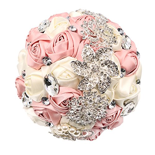 Abbie Home Advanced Customization Romantic Bride Wedding Holding Toss Bouquet Rose with Pearls and Rhinestone Decorative brooches Accessories-Multi Color Selection (Pink)