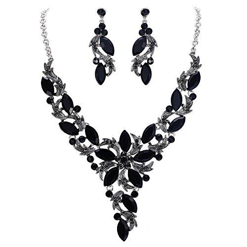 - EVER FAITH Crystal Elegant Flower Leaf Necklace Earrings Set for Bride, Prom, Bridal Black Silver-Tone