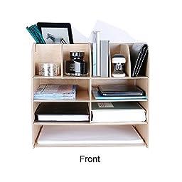 SOGAR Wooden Multi-functional Organizer Storage Box Desktop Office Supplies Necessary Desktop Shelf